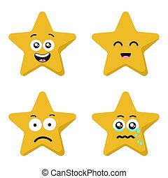 Funny cartoon star character emotions set isolated on white...