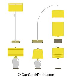 Set of lamps. Vector illustration lamp light isolated...