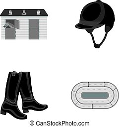 Boots, grass, stadium, track, rest .Hippodrome and horse set...