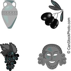 Greece, olive, branch, vase .Greece set collection icons in monochrome style vector symbol stock illustration web.