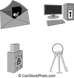 Virus, monitor, display, screen .Hackers and hacking set collection icons in monochrome style vector symbol stock illustration web.