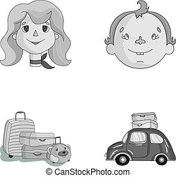 Camping, woman, boy, bag .Family holiday set collection icons in monochrome style vector symbol stock illustration web.