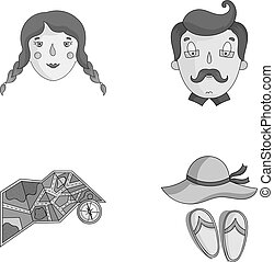 Travel, vacation, camping, map .Family holiday set collection icons in monochrome style vector symbol stock illustration web.