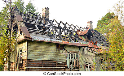 Burned down building.