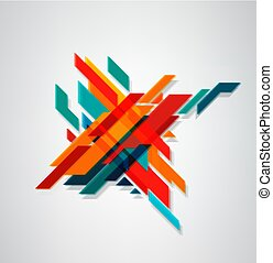 Vector abstract, geometric element, Modern minimalist design. Business concept. Blurred diagonal lines of different colors (3d effect).