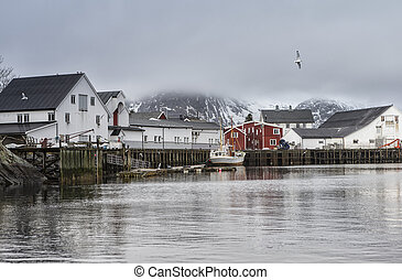 Cold Snowy Norwegian Harbour Seascape View at Toppoya and...