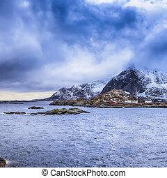 Norwegian Fishing Village Hamnoy Shot From Bridge in the...