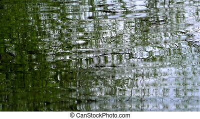 Water surface with ripples and greenery reflections, slow...