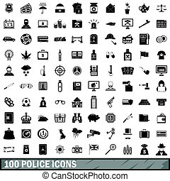 100 police icons set, simple style