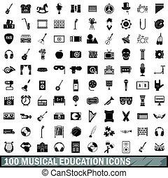 estilo, iconos, Conjunto,  simple,  100, educación,  musical