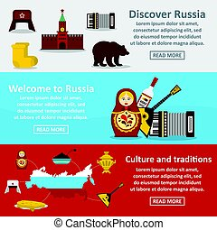 Russia travel banner horizontal set, flat style - Russia...