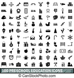 100 preschool education icons set, simple style - 100...