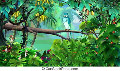 Blue Parrot in a Jungle UHD - Blue parrot sits on a branch...