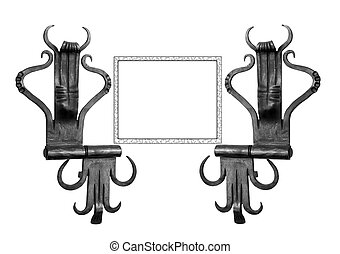 Metal hinges. - Door hinges with frame for your text.