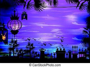 Ramadan. A lantern on a tree. Light in the night sky