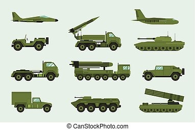 Set of different military transport. Modern equipment...