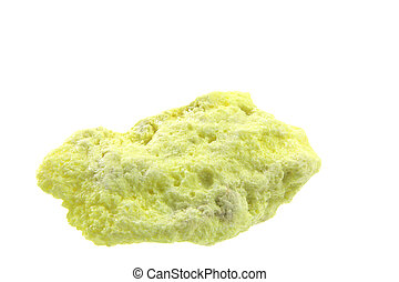 Sulfur, in front of white background - size of the sample...