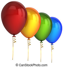Party helium balloons multicolored