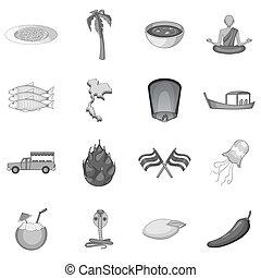 Thailand symbols icons set monochrome - Thailand symbols...