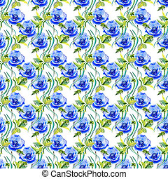 Wildflower anemone flower pattern  in a watercolor style isolated.