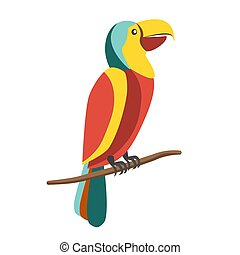 Colorful parrot on branch - Vector illustration of colorful...