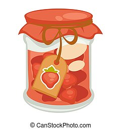Canned red strawberry - Vector illustration of jar with...