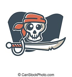 Pirate skull with saber - Vector illustration of skull in...