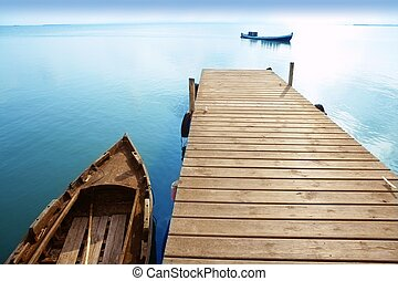 Albufera lake wetlands pier in Valencia Spain - Albufera...