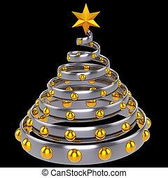 Estratto, argento, Natale, albero