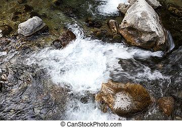 Mountain river, beautiful mountain shoal water. Water...