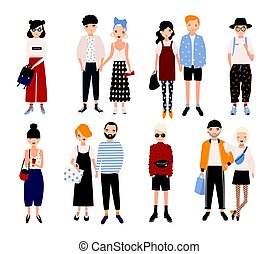 Set of stylish young people and love couples. Different guys...