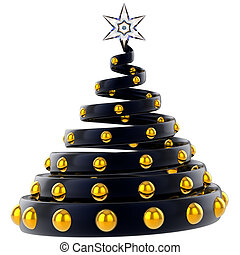 Black Christmas tree stylized