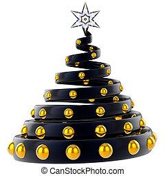 nero, Natale, albero, stilizzato