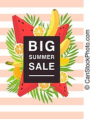 Vertical poster on big summer sale theme. Bright promotional flyer with different fruits and palm leaves. Colorful advertising vector illustration on a striped background.