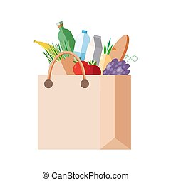 Paper bag with purchases. full packet with fresh food, vegetables, fruits, dairy products. Concept shopping in a grocery store, market. Colorful vector illustration.