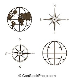 Vector illustration of globe, wind rose, compass. - Symbols...
