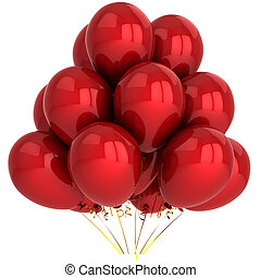 Red helium party balloons