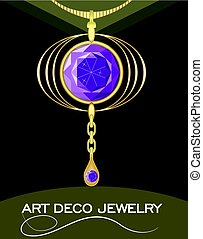 Luxurious art deco pendant with puprle gems amethyst on gold chain, fashion in victorian style, antique jewel