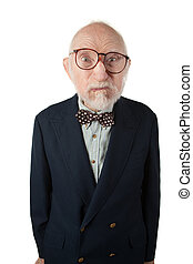 Obnoxious Senior Man with Bow Tie on White Background