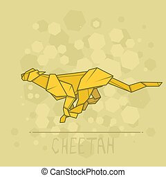 Vector illustration paper origami of cheetah. - Vector...