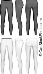 Women's full length leggings. Leggings black and white...