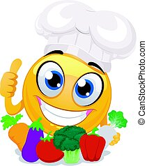 Smiley Emoticon wearing Chef Hat holding Vegetables