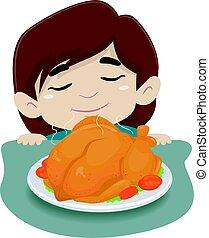 tabla, poco, pollo, niña, Oler
