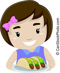 Little Kid Girl Holding a Taco