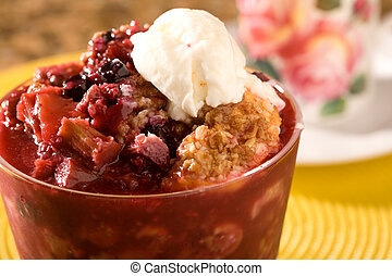 Berry Cobbler and Ice Cream - Berry and Peach Cobbler topped...