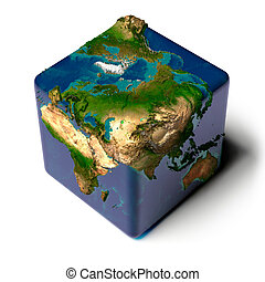 Cubic Earth with translucent ocean - Earth as a cube with a...
