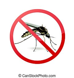 Stop sign on mosquito - Stop prohibit sign on mosquito close...