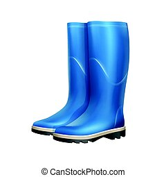 Pair of rubber boots - Vector pair of blue rubber boots...