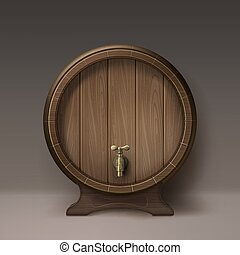 Old wooden barrel - Vector old wooden barrel on rack with...