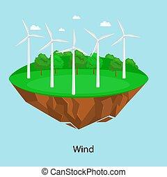 moinho de vento, poder, electricidade, energia,  illustratin, campo, vetorial, Ecologia, vento, estação, verde, alternativa, capim, tecnologia, turbina, renovável, conceito